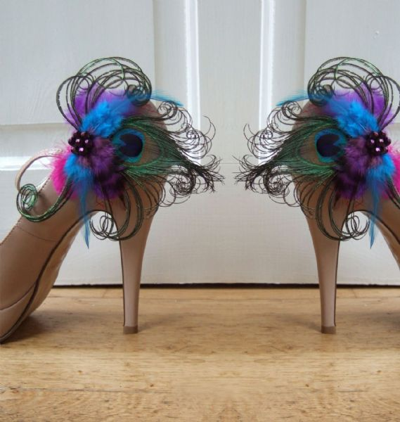 "Bridal Royal Blue Purple and Peacock Feathers ""Ella"" Shoe Clips Mardi Gras"